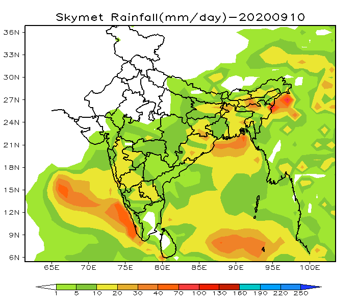 15 days rainfall forecast for all the cities and states of India