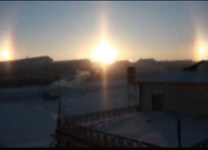 Three Suns Viewed in Mongolia