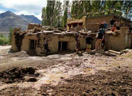Flash floods in Leh