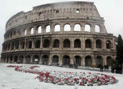 Snowfall in Italy
