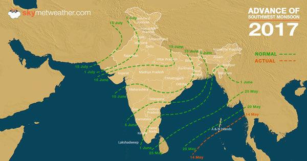 Progress of Southwest Monsoon 2017 in India