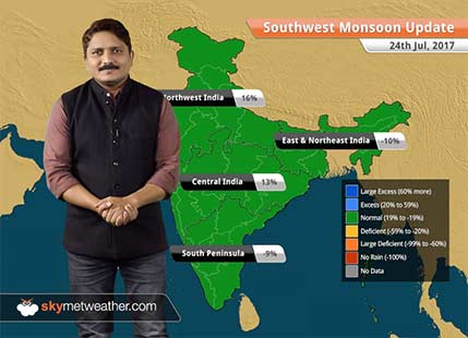 Monsoon Forecast for Jul 25, 2017: Heavy rains in UP, MP, Gujarat and Jharkhand