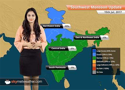 Monsoon Forecast for Jul 16, 2017: Heavy rain in Gujarat, Madhya Pradesh, Rajasthan and Mumbai