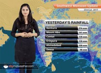 Monsoon Forecast for Jul 24, 2017: Heavy Monsoon rains in Gujarat, Rajasthan, Maharashtra