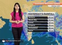 Monsoon Forecast for Jul 24, 2017: Monsoon rains in Uttar Pradesh, Bihar, Madhya Pradesh and Gujarat. Jharkhand