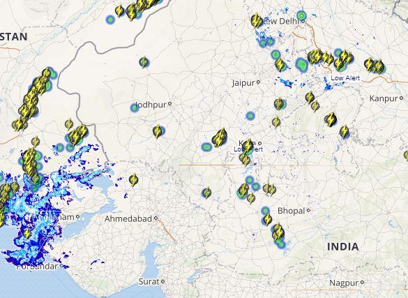 Gujarat rain and lightning