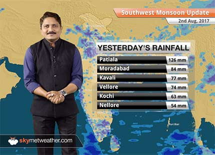 Monsoon Forecast for Aug 3, 2017: Rain in Delhi, Amritsar, Chandigarh, Lucknow, Varanasi, Allahabad