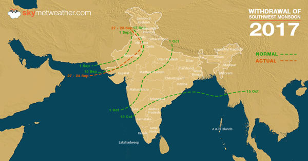 India Map 2017.Withdrawal Of Southwest Monsoon 2017 Begins From India Skymet