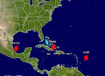 Jose now a Cat 3 hurricane; Katia to strike earthquake hit Mexico