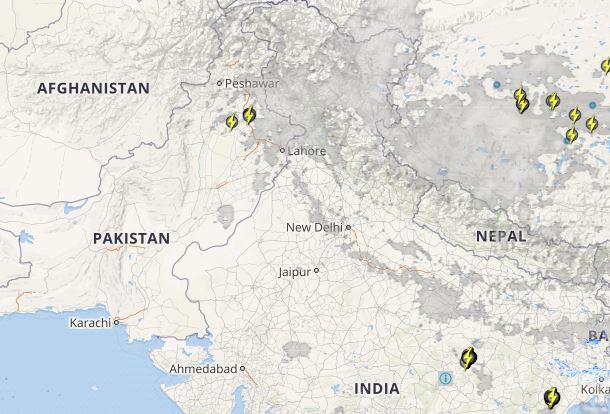 Pakistan lightning and rain