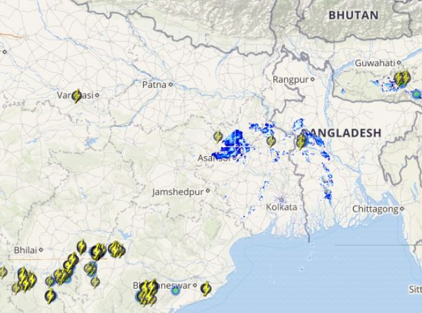 Lightning in Bihar, Jharkhand and WB