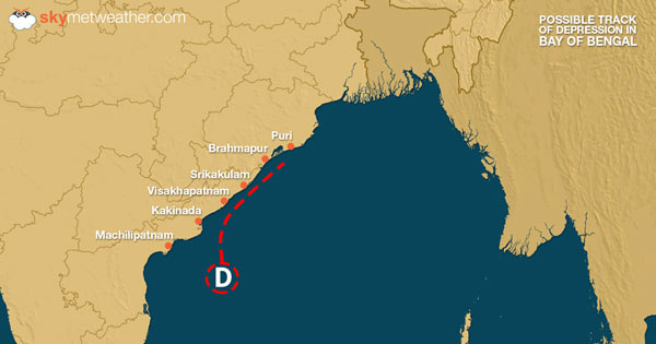 Possible track of depression in Bay of Bengal