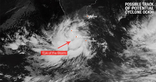 Track of Potential Cyclone Ockhi