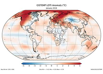 January 2018 fifth warmest in 138 years, says NASA