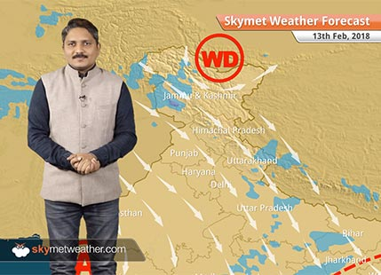 Weather Forecast for Feb 13: Rain and snow in Kashmir, Himachal, Maximums to rise in plains of India
