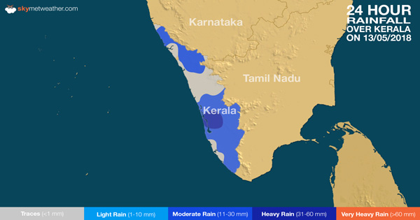 24 hours rain in Kerala on May 13, 2018