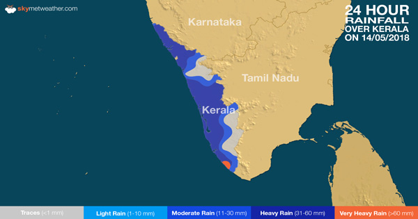 24 hours rain in Kerala on May 14, 2018