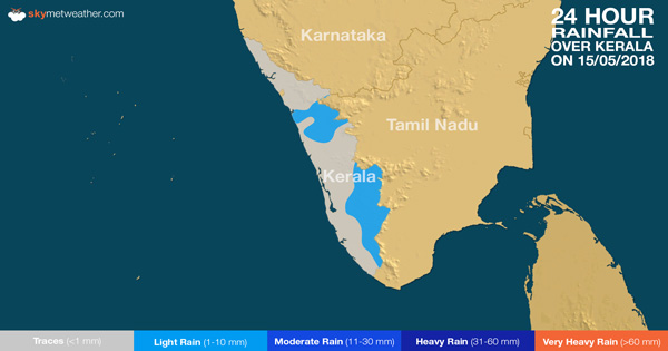 24 hours rain in Kerala on May 15, 2018
