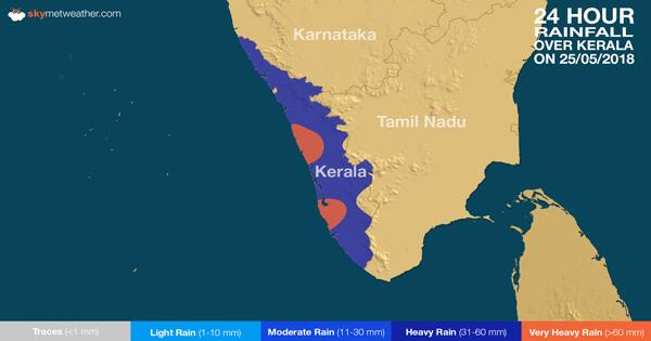 Rainfall over Kerala on May 25