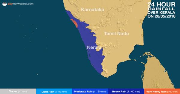 Rainfall over Kerala on May 26