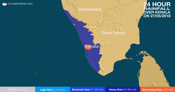 Rainfall over Kerala on May 27