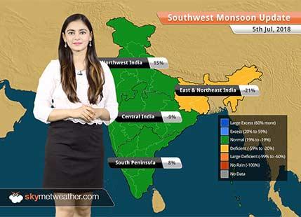 Monsoon Forecast for July 6, 2018: Heavy rain in Gujarat, West Bengal, Kashmir