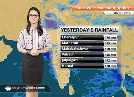 Monsoon Forecast for July 6, 2018: Heavy rain in Southeast Madhya Pradesh, Vidarbha, Assam