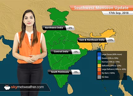 Monsoon Forecast for Sep 18, 2018: More rains in Andhra Pradesh, Tamil Nadu, and South Interior Karnataka