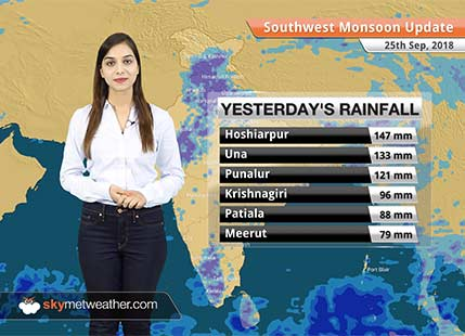 Monsoon Forecast for Sep 26, 2018: Rain in Himachal, Uttarakhand, Kashmir