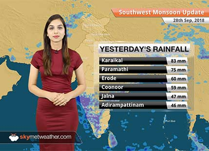 Monsoon Forecast for Sep 29, 2018: Normal Monsoon conditions ahead for Tamil Nadu, Kerala and Karnataka
