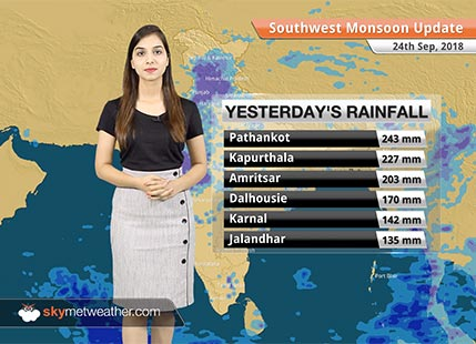 Monsoon Forecast for Sep 25, 2018: Heavy rains ahead for Himachal Pradesh, Uttarakhand and Rajasthan