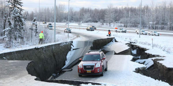 Two huge earthquakes have struck Alaska buckling roads