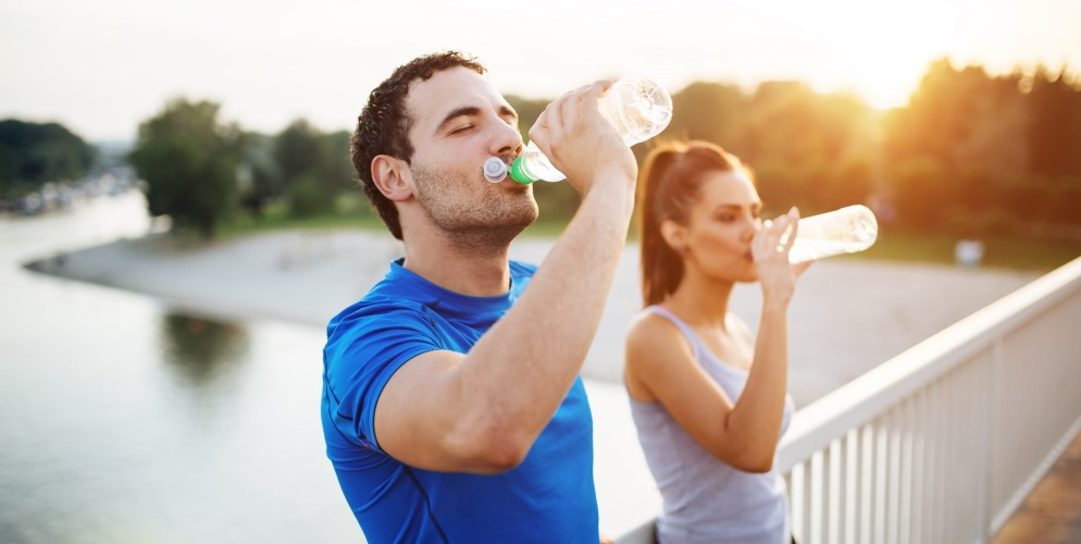 Couple staying hydrated