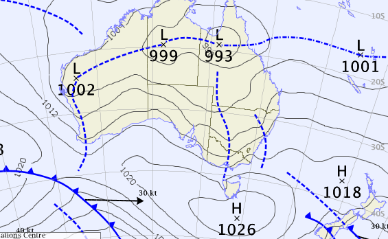 Low pressure area in Australia