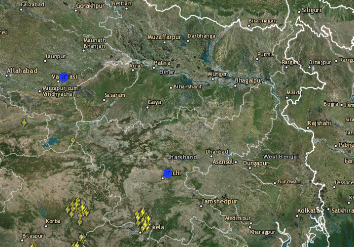 Live Lightning, Rain and Thuderstorm report across India
