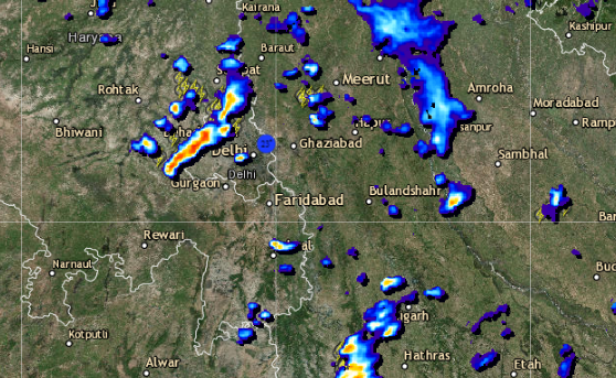 Live Lightning and rain status across Delhi NCR