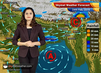 Weather Forecast for Feb 24: Rains likely over West Bengal, Jharkhand, Odisha, Arunachal Pradesh and Assam