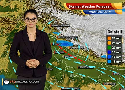 Weather Forecast Feb 22: Light rain in Himachal, Uttarakhand, West UP; dry weather in Delhi, Kashmir, Rajasthan
