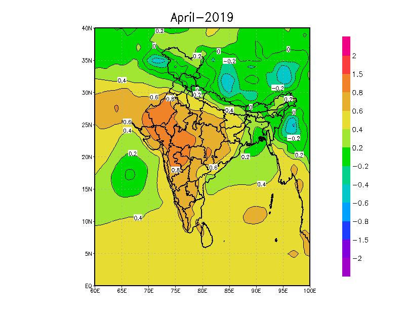 Temperatures likely in Apr-2019