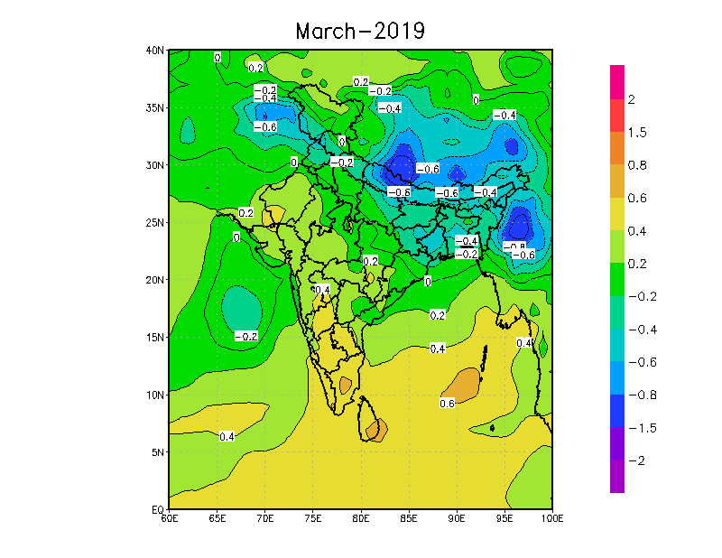 Temperatures likely in Mar-2019