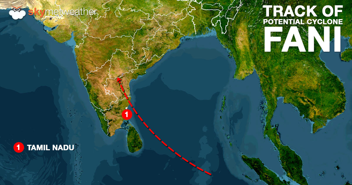 Track of possible Cyclone Fani 1