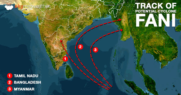 Possible track of Cyclone Fani