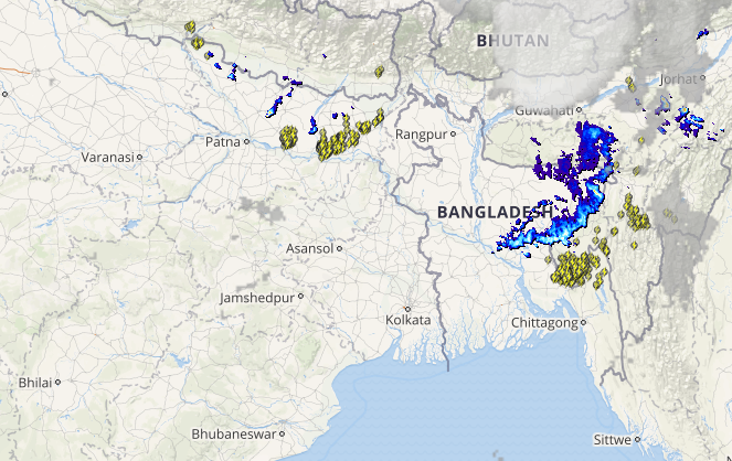 Live lightning and thunderstorm status across West Bengal