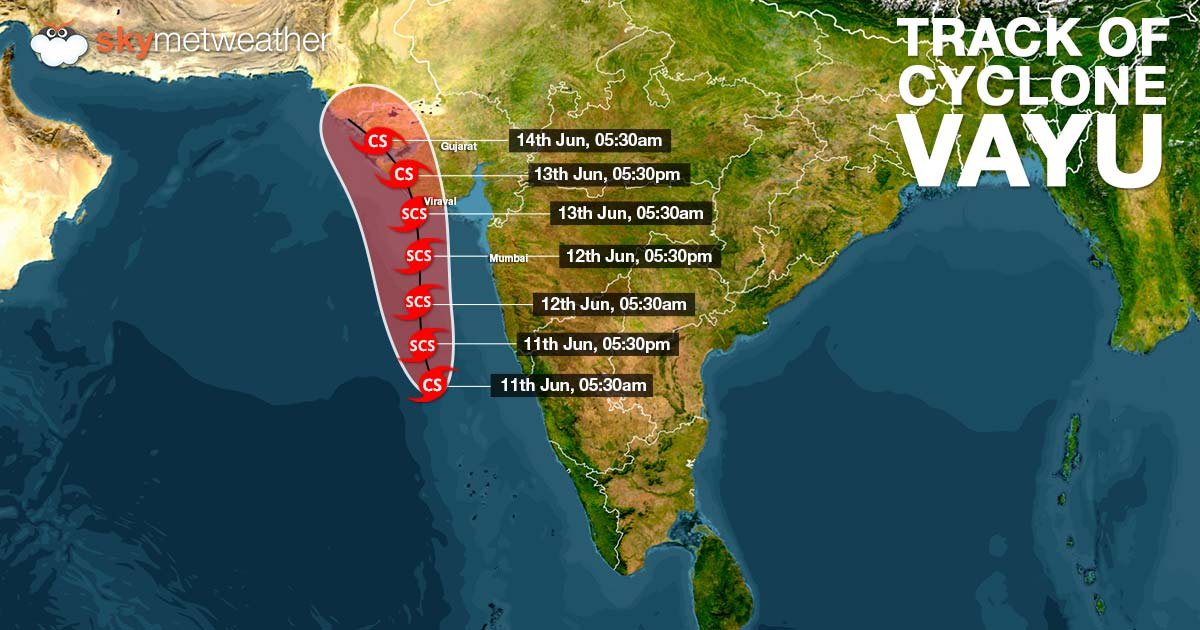 Probable track of cyclone Vayu