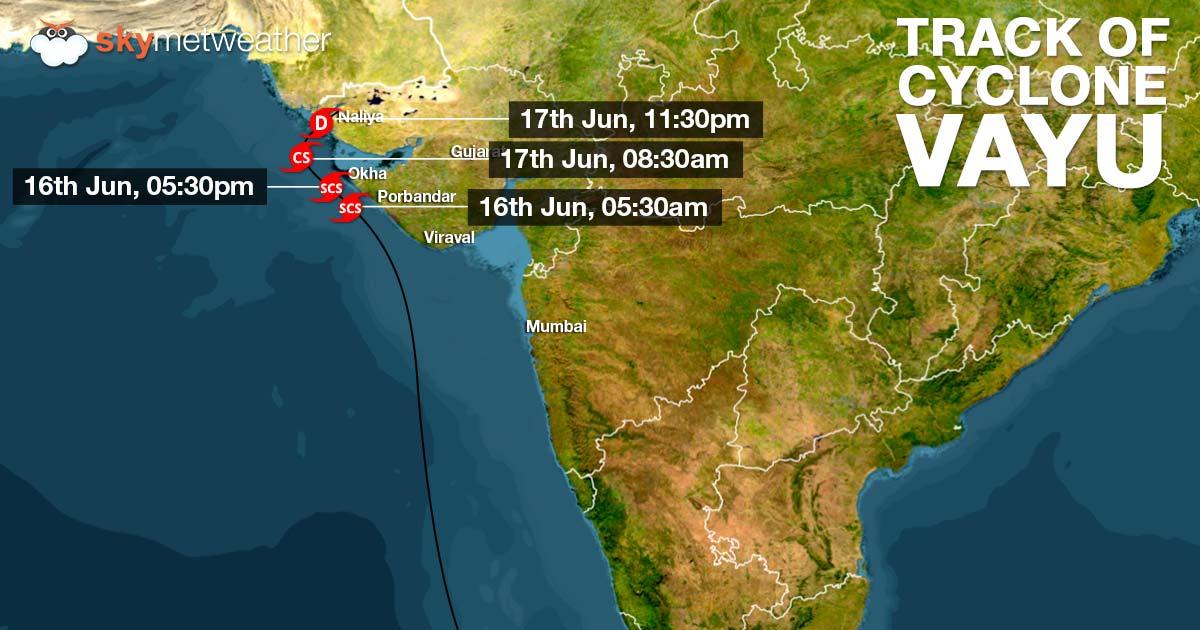 Track of Cyclone Vayu