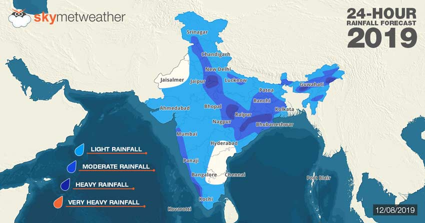 Hindi] Southwest Monsoon 2019 Forecast for August 12 across India