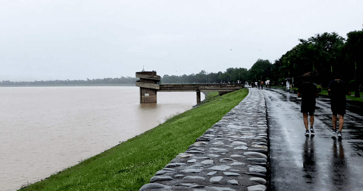 Chandigarh Water Reservoir in India Monsoon