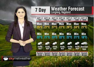 Weather Forecast for Nagaland from September 17 to September 23
