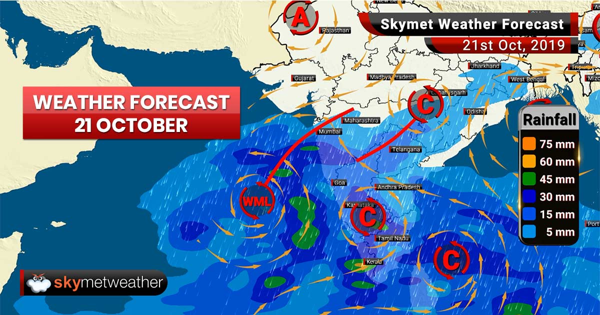 Weather Forecast Oct 21: Low Pressure intensifies, rains ahead for Maharashtra and South India