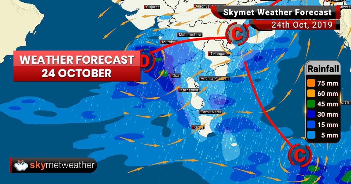 Weather Forecast Oct 24: Heavy rains to lash coastal Karnataka, Andhra, Odisha, Konkan, Goa